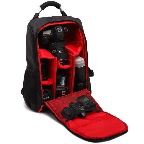 Juvale Camera Backpack Bag for Photographer DSLR/SLR Cameras, Lenses, Tripods, Flashes & Accessories, Black/ Red - image 1 of 4