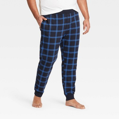 Men's Big & Tall Plaid Regular Fit Knit Jogger Pajama Pants - Goodfellow & Co™ Blue