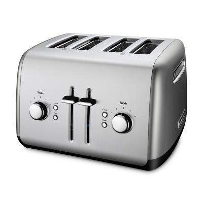 KitchenAid Refurbished 4 Slice Toaster Contour Silver - RKMT4115CU