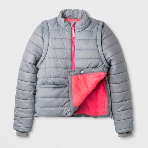 fe9b618d Toddler Girls' Adaptive Puffer Coat - Cat & Jack™ Gray