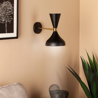 Abmun Decorative Wall Sconce Black (Lamp Only)   Aiden Lane : Target