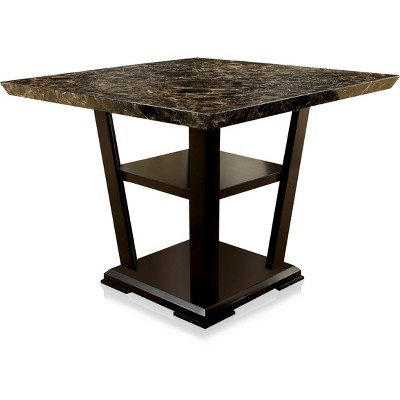 Harrington Faux Marble Table Top w/Open Bottom Shelf Counter Dining Table Dark Cherry - HOMES: Inside + Out