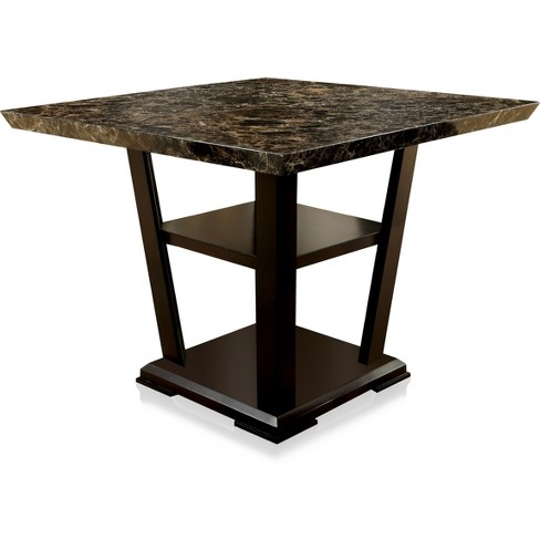 ioHomes Faux Marble Table Top With Open Bottom Shelf Counter Dining Table Wood/Dark Cherry - image 1 of 3