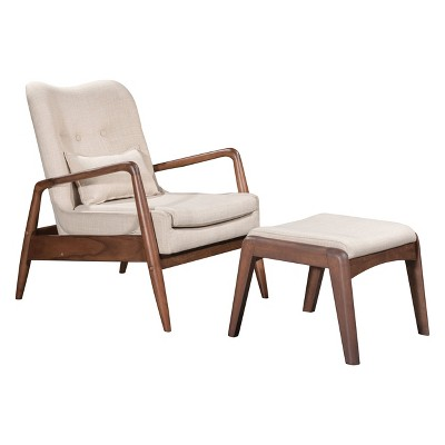 Upholstered Mid-Century Modern Sculpted Lounge Chair and Ottoman - Beige - ZM Home
