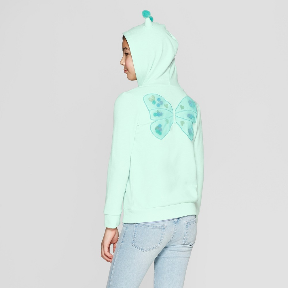 Girls' Butterfly Hoodie - Cat & Jack Green XS