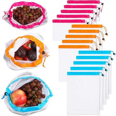 18-Pack Reusable Mesh Produce Bags, Washable Food Fruit Vegetable Storage Bags Eco Friendly, 3 Colors, 3 Sizes