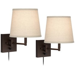 360 Lighting Modern Swing Arm Wall Lamps Set of 2 Painted Bronze Plug-In Light Fixture Oatmeal Linen Empire Shade Bedroom Reading