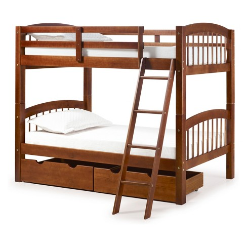 Spindle Twin Over Twin Bunk Bed With Storage Drawer Target