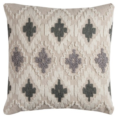 "20""x20"" Geometric Diamond Textured Throw Pillow Natural/Gray - Rizzy Home"