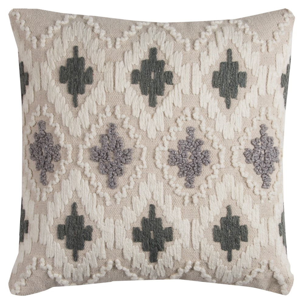 Throw Pillow Rizzy Home Natural Gray