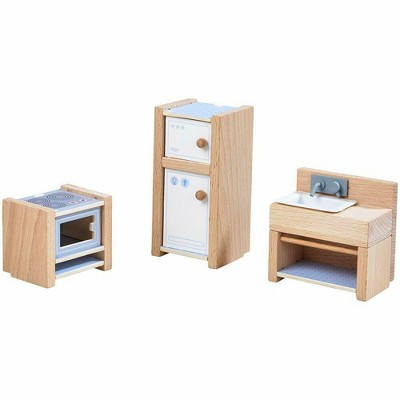 "HABA Little Friends Kitchen Room Set - Wooden Dollhouse Furniture for 4"" Bendy Dolls"