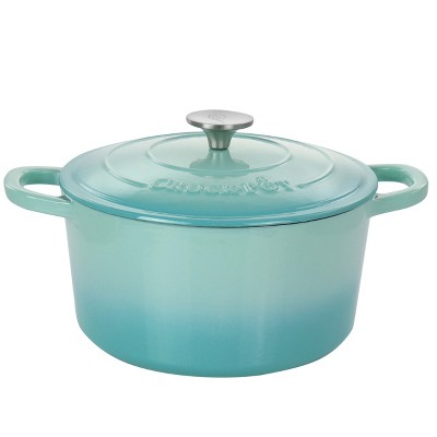 Crock-Pot Artisan 2 Piece 5 Quarts Enameled Cast Iron Dutch Oven in Pistachio Green