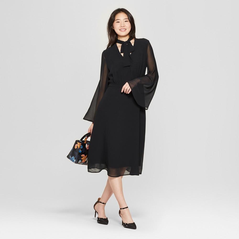 Women's Long Sleeve Tie Neck Midi Dress - Who What Wear Black Xxl