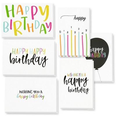 "48 Happy Birthday Cards Assortment with Envelopes, 6 Colorful Handwritten Designs, Blank Inside, Bulk Box Set, 4 x 6"""