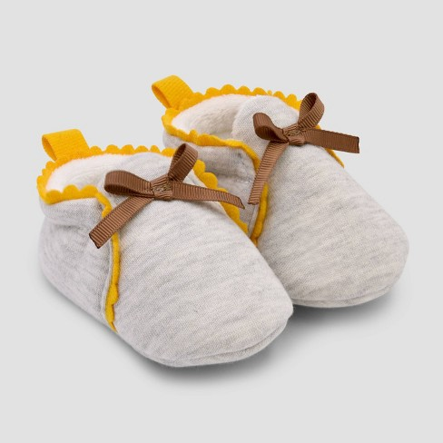 Baby Girls' Scalloped Constructed Bootie Slipper - Cat & Jack™ Tan - image 1 of 1