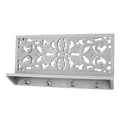 Hand Carved Coat Rack Wall Shelf Dove Gray - Crystal Art Gallery
