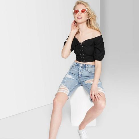 """4b56906d Women's Short Puff Sleeve Lace-Up Cropped Top - Wild Fableâ""""¢ Black"""