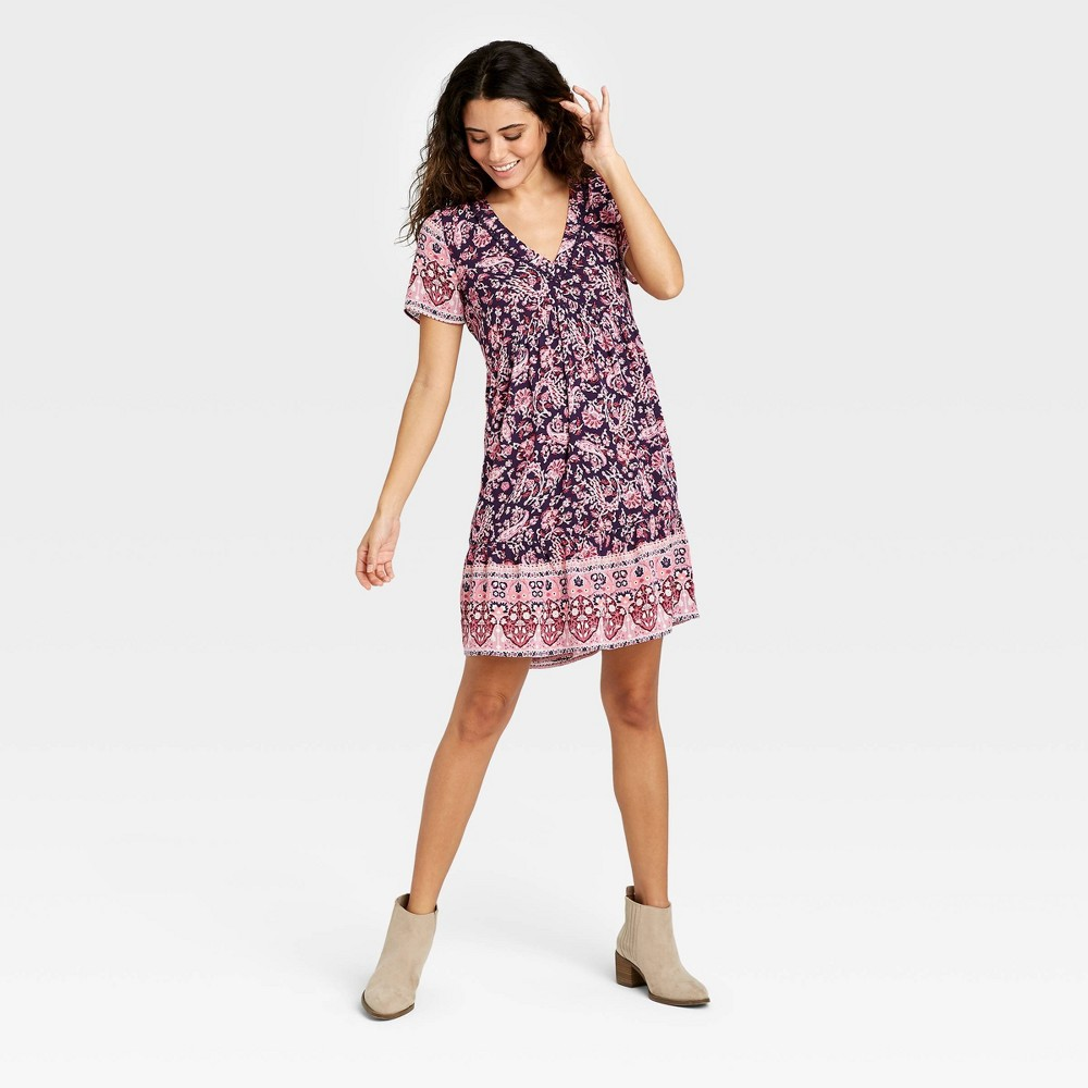 Women 39 S Floral Print Short Sleeve Dress Knox Rose 8482 Navy Xs