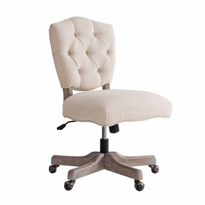 Kelsey White Office Chair Natural - Linon