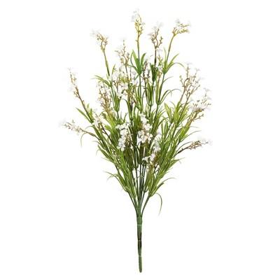 "Vickerman 19"" Artificial Green Mini Wild Flower Bush. UV Coated, Set of 3"