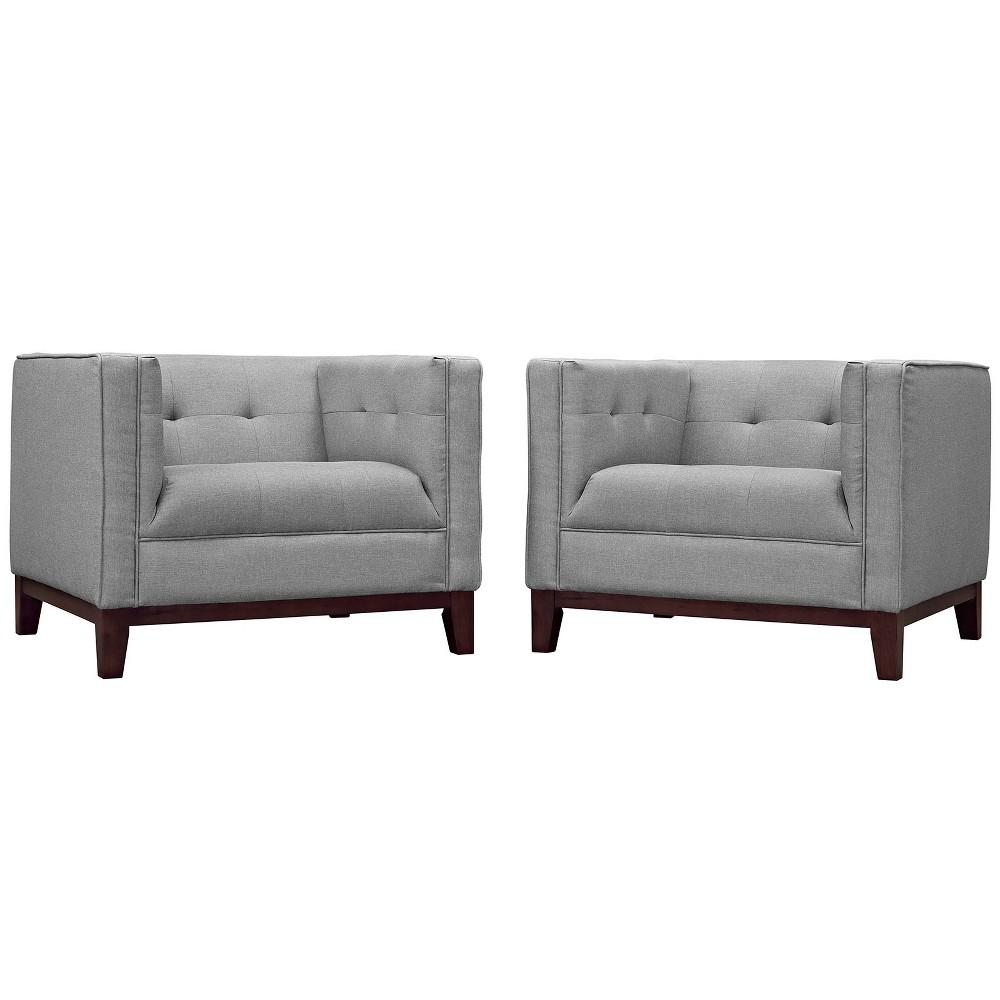 Serve Armchairs Set of 2 Light Gray - Modway