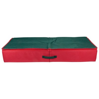 """Northlight 24"""" Red and Green Christmas Decoration Storage Bag with Clear Transparent Lid"""