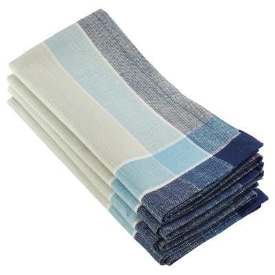 4pk Aqua Palmaria Plaid Design Napkin 20  - Saro Lifestyle®