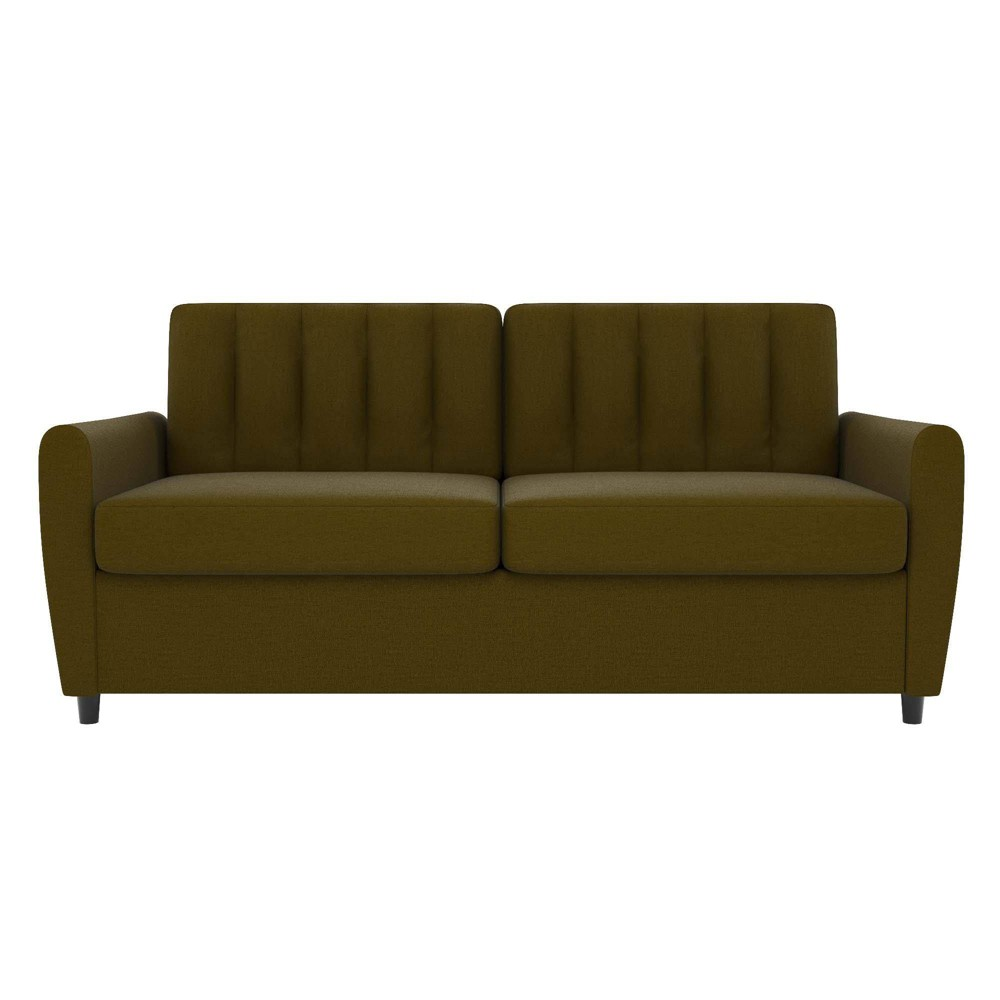 Image of Queen Brittany Sleeper Sofa with Memory Foam Mattress Green - Novogratz