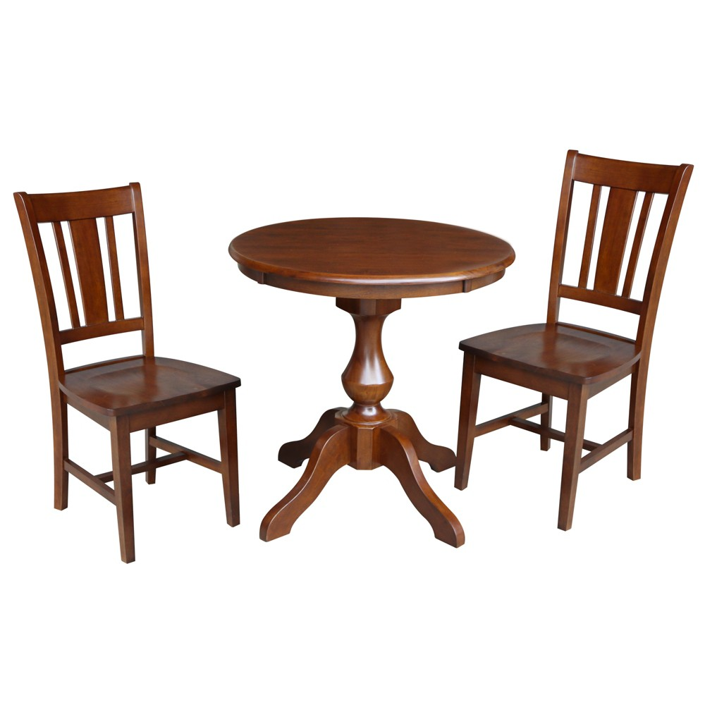 30 3pc Grace Round Top Pedestal Table with 2 Chairs Set Espresso - International Concepts, Brown