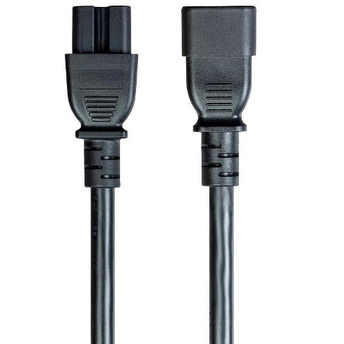 Monoprice 14AWG Heavy-Duty Computer Extension Power Cable / Cord - 3ft - Black 15A 14AWG (IEC-320-C14 to IEC-320-C15) - image 1 of 4