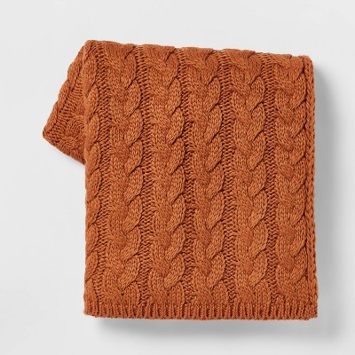 Solid Chunky Cable Knit Throw Blanket Bronze - Threshold™