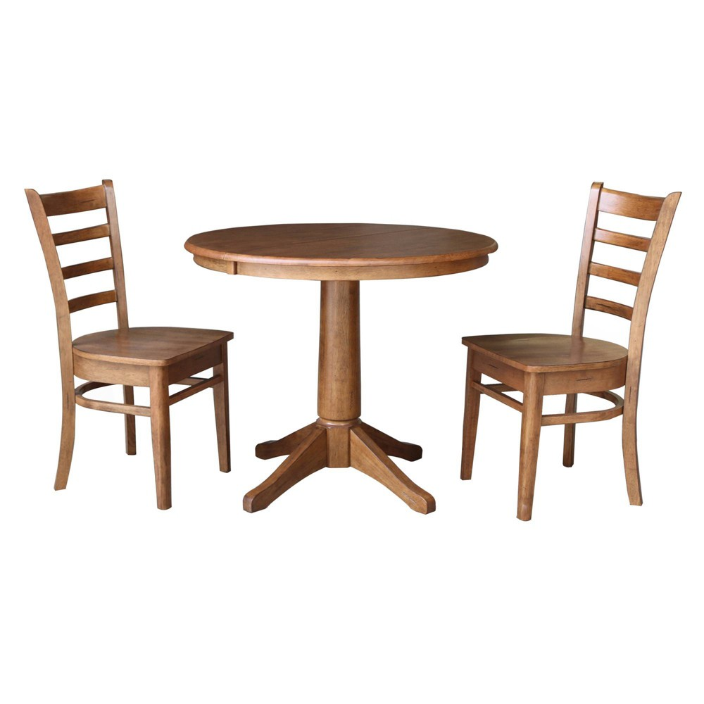 36 34 Abby Roundextendable Dining Table With 2 Chairs Distressed Oak International Concepts