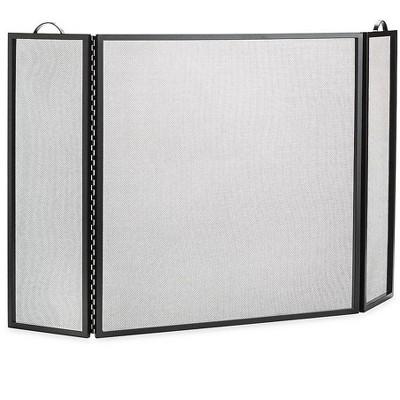 Plow & Hearth - Classic Tri-Fold Flat-Guard Fireplace Fire Screen, 50''W x 30''H