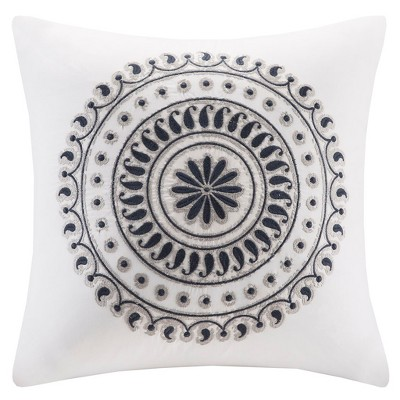 Fleur Embroidered Square Throw Pillow Navy