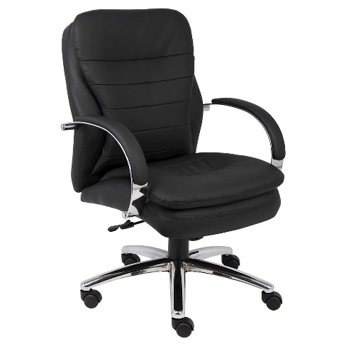 Mid Back Caressoftplus Exec Chair with Chrome Base Black - Boss Office Products - image 1 of 1