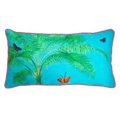 """26"""" x 14"""" Butterfly Palm Oblong Patio Throw Pillow - New York Botanical Garden"""