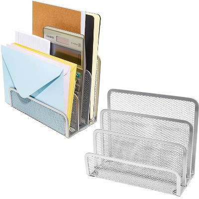 Pack of 2 Metal Mesh Mail Sorter with 3 Slots for Letter File Organizer, Silver