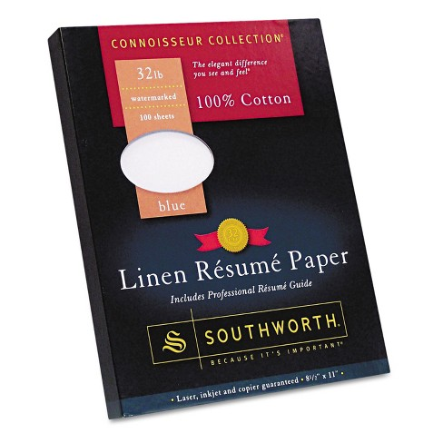 Southworth 100% Cotton Linen Resume Paper Blue 32 lbs. 8-1/2 x 11 100/Box RD18BCFLN - image 1 of 1