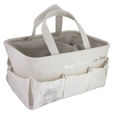 "Beriwinkle Linen ""I love you more than I can bear"" Diaper Caddy - Ivory"