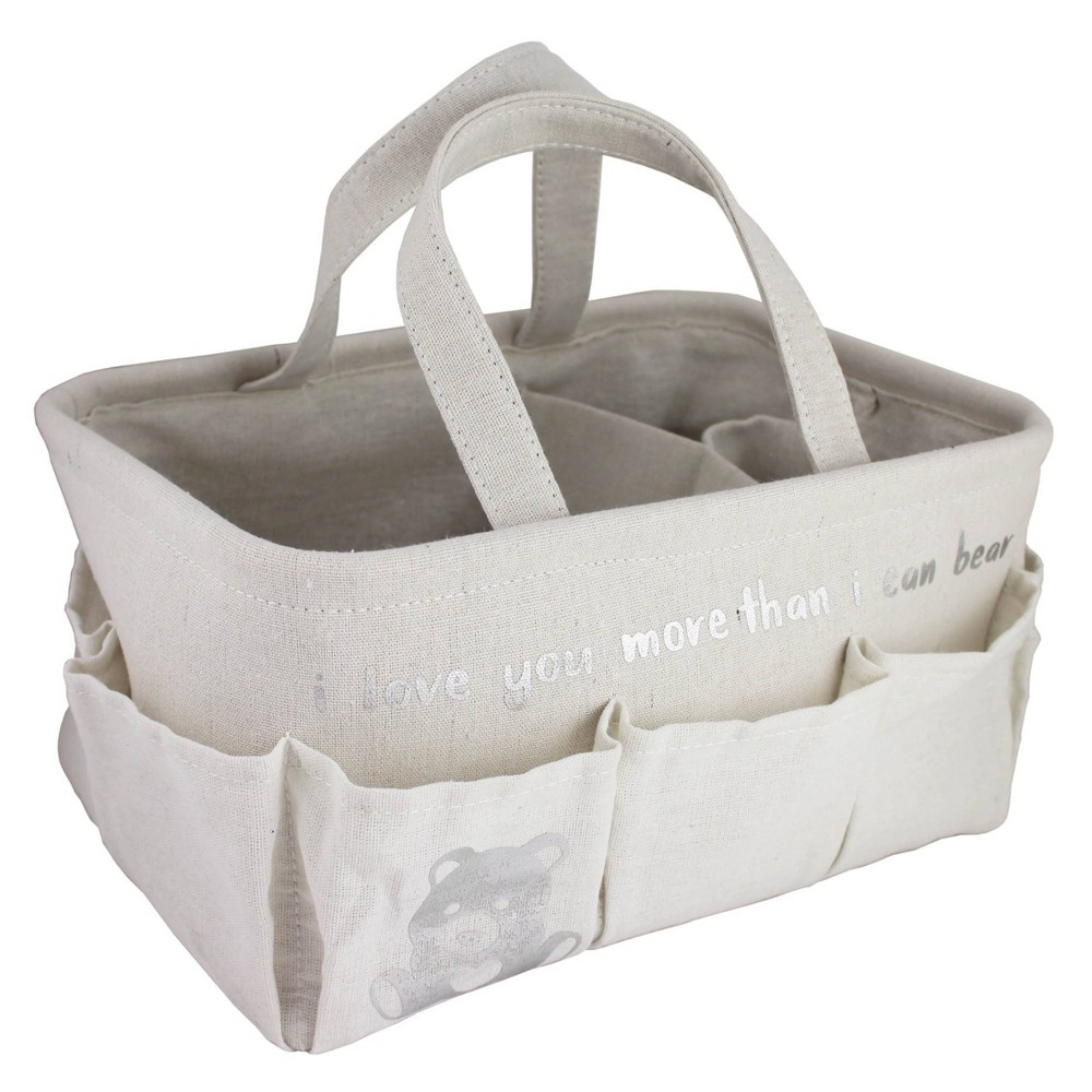 "Image of ""Beriwinkle Linen """"I love you more than I can bear"""" Diaper Caddy - Ivory"""