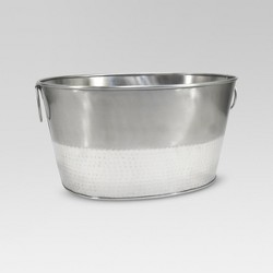 6.6gal Stainless Steel Hammered Metal Oval Beverage Tub - Threshold™