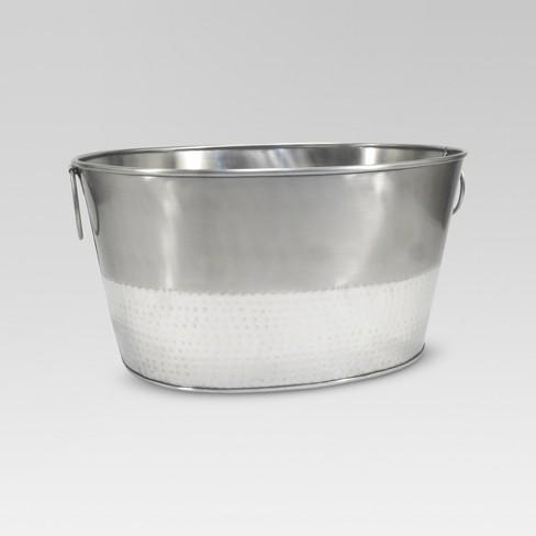 6.6gal Stainless Steel Hammered Metal Oval Beverage Tub - Threshold™ - image 1 of 1