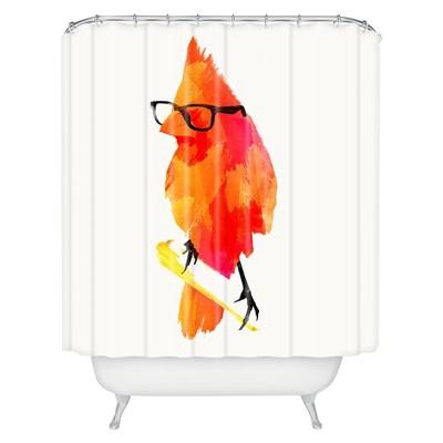 Punk Bird Shower Curtain Tangerine - Deny Designs
