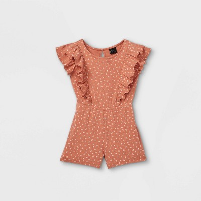 Toddler Girls' Floral Ribbed Tank Romper - art class™ Rust Orange