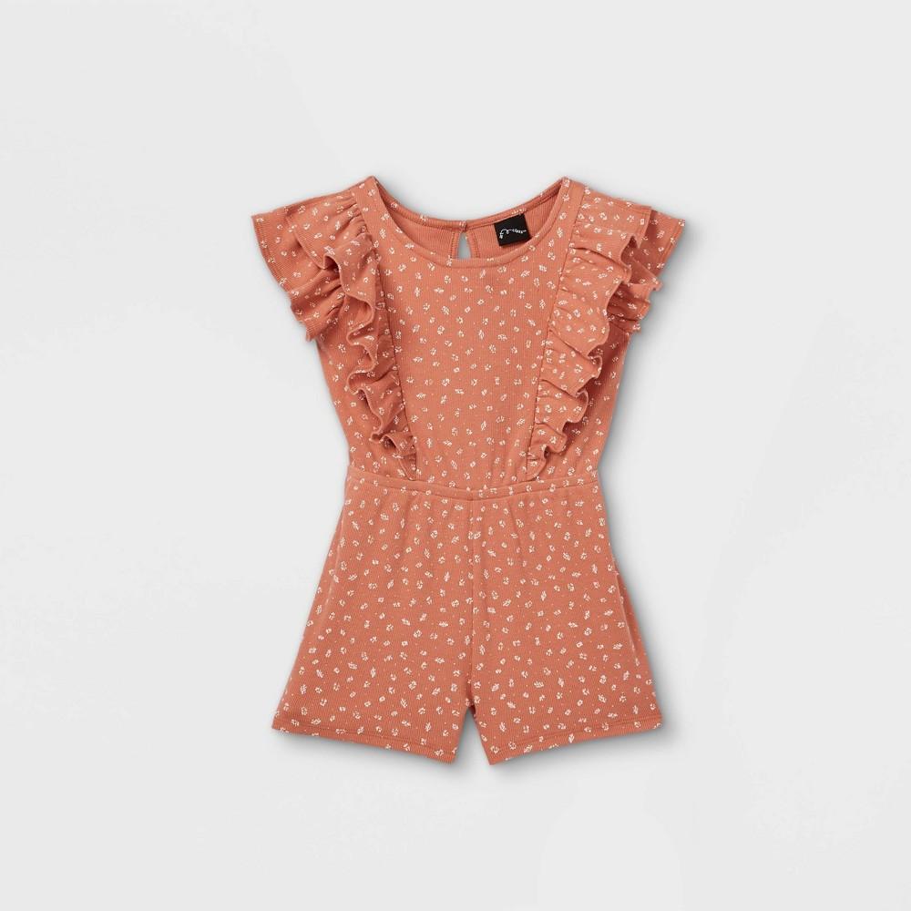 Toddler Girls 39 Floral Ribbed Tank Romper Art Class 8482 Rust Orange 4t