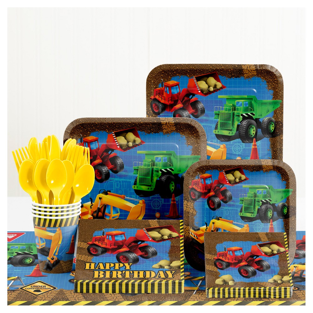 Under Construction Birthday Party Supplies Kit, Multi-Colored