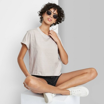 Women's Short Sleeve Roll Cuff Boxy T-Shirt - Wild Fable™