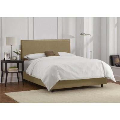 California King Bella Nail Button Border Bed Tan Linen with Brass Nailbuttons - Cloth & Co.