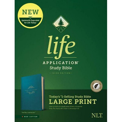 NLT Life Application Study Bible, Third Edition, Large Print (Leatherlike, Teal Blue, Indexed) - (Leather Bound)