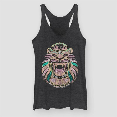 Women's Aladdin Lion Graphic Tank Top (Juniors') - Black Heather